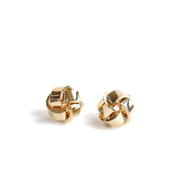 and America winding twisted earrings simple and compact design small incense big brand sense ins cold wind gold-plated silver earrings