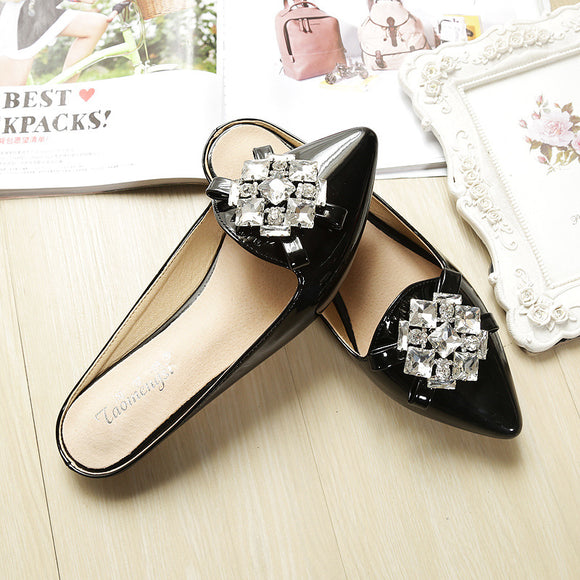 foot wear women's   sweet women's shoes flat non-slip baotou slippers young lady rhinestones fertilizer broad half drag oversized women's shoes tide