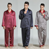 Men Stain Silk Pajama Set Pajamas Men Printed Sleepwear Modern Style Silk Nightgown Home Male Satin Soft Cozy For Sleeping Hot 5