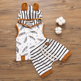 Newborn Baby Boy Hooded Feather T shirt Tops Striped Shorts Pants Clothes roupa infantil boutique kids clothing summer 2020