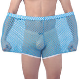 Mens Sexy Sleepwear Big Mesh Brand-clothing Honeycomb Net Men's Home Pajamas Shorts Sexy Sleep Bottom Mens Sheer Pajamas