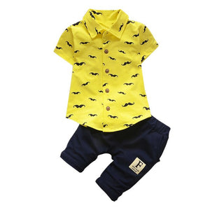 2019 Newborn Toddler Kids Baby Boys Beard T Shirt Tops+Shorts Pants Outfit Clothes Set Casual Kids Clothing Overalls