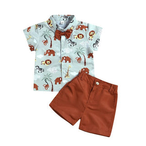 Toddler Baby Boys Short Sleeve Cute Cartoon Animals Print Shirt+ Solid Shorts Outfit Fashion Formal Boutique Kids Clothing