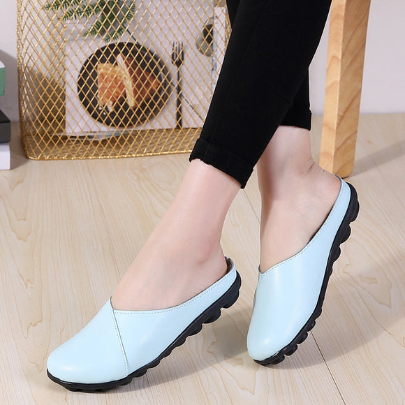slippers young lady midsunny season wear leather flat with ladies wild easy breathing flat bottom baotou half slippers big size women's shoes