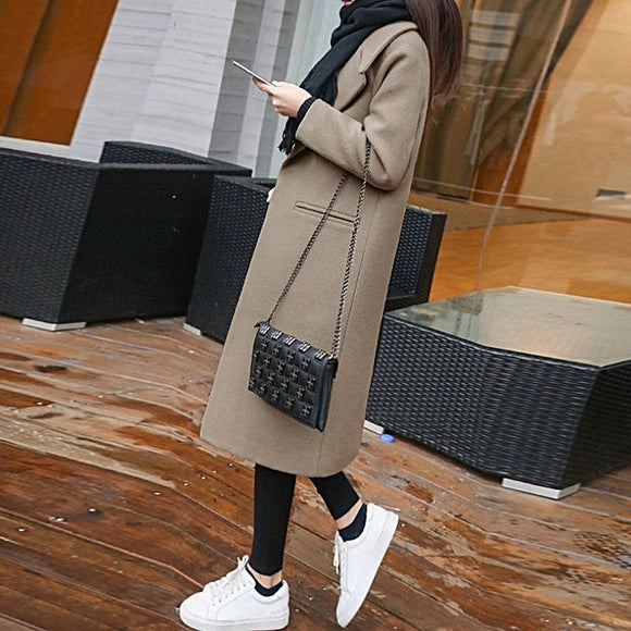 women long slim jacket 2020 autumn winter solid coats single button turn down collar with pockets casual outwear manteau femme
