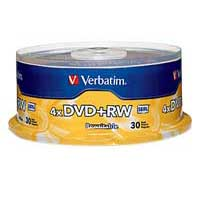 DVD+RW 4x 4.7 GB/120 Minute Disc 30-Pack Spindle
