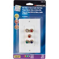 Component Video and Dual RCA Stereo Audio Wall Plate - White