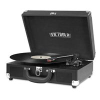 Bluetooth Suitcase Record Player with 3-speed Turntable - Black