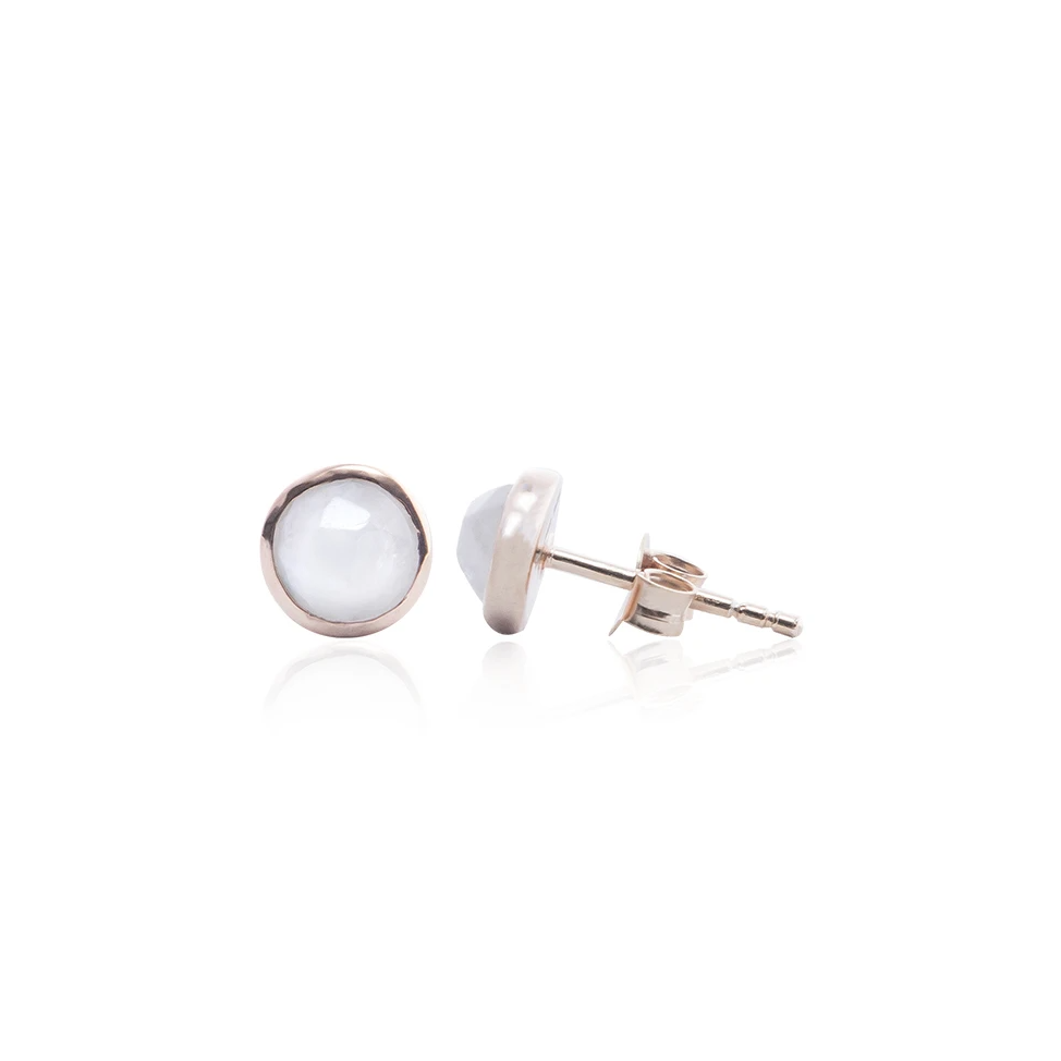 Moonstone Stud Earring, Gold Plated