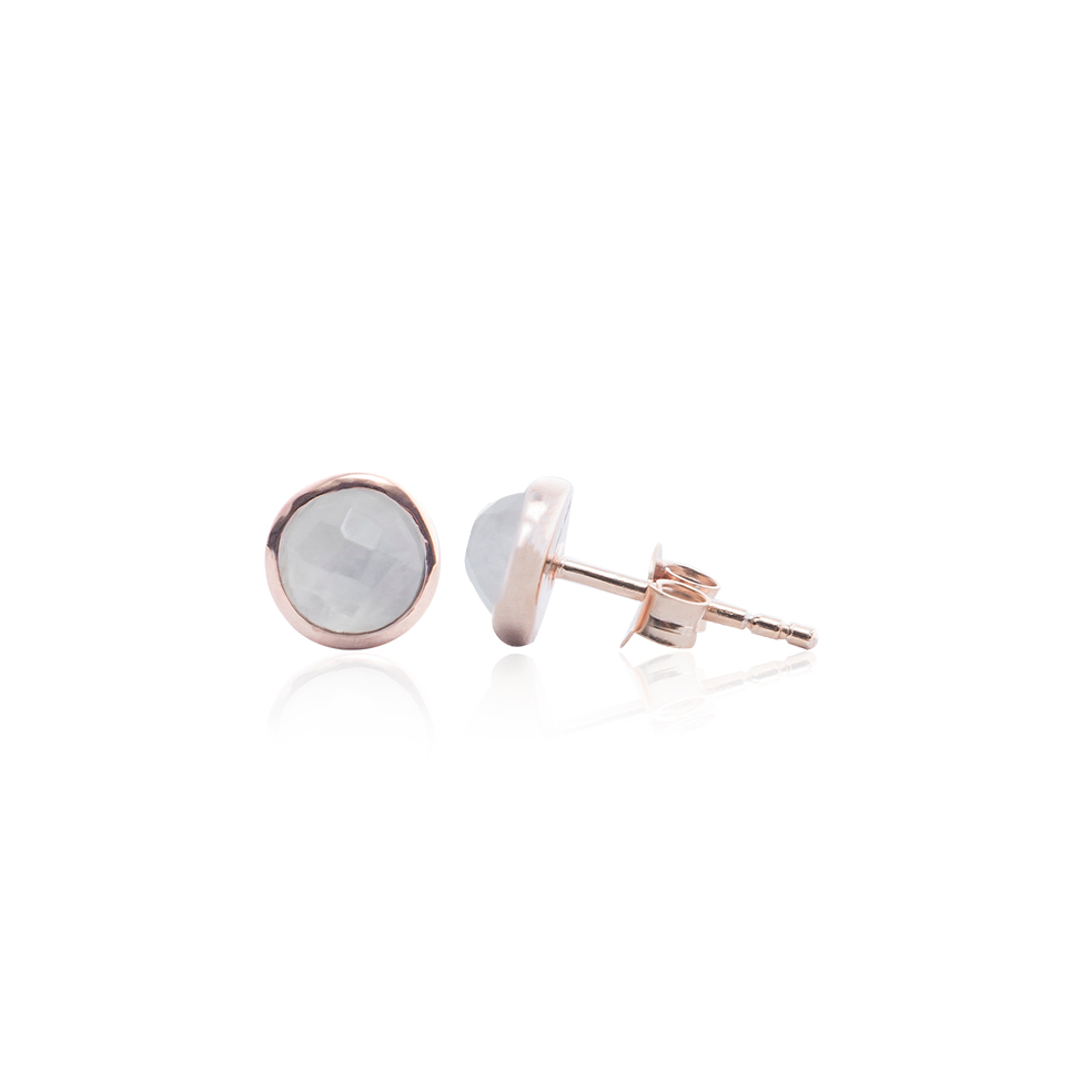 Moonstone Stud Earring, Rose Gold Plated