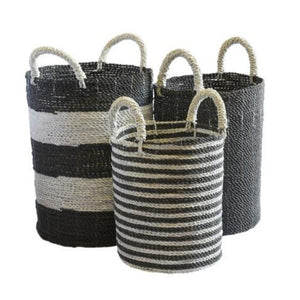 Basket Black & White Stripe Set