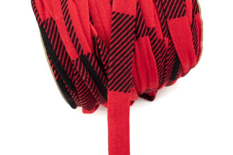 Red and Black Plaid Sweater Knit Trim Spaghetti Straps Hollow Tube Tubular Trim 5 yards ATN00961