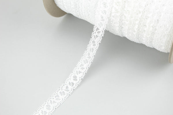 White Narrow Stretch Lace Trim 5 yards SLT00212