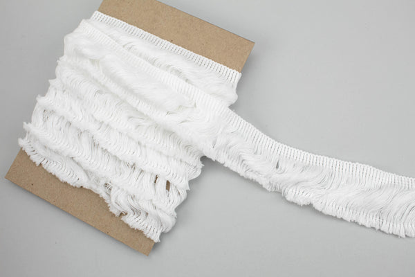 White Cotton Fringe Trim 2 inches width x 2.25 inches length ATN00990