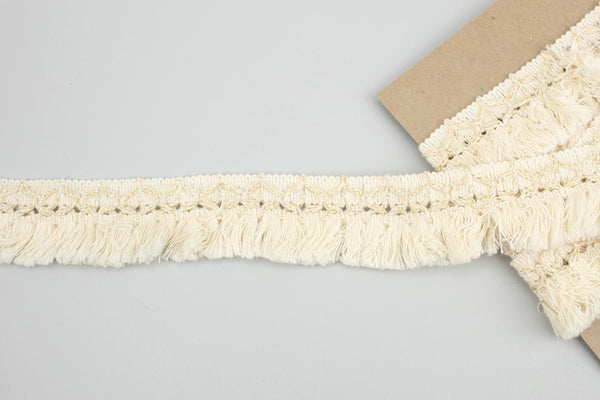 Ecru and Gold Cotton Fringe Trim 1.75 inches width x 1.75 yards ATN00988