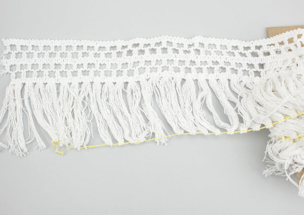 White Crochet Like Cotton Fringe Trim 5 inches width x 3 yards ATN00992