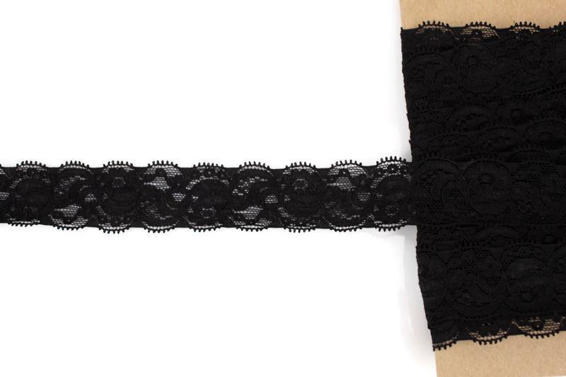 Black Floral Stretch Lace Trim 1-3/8 inches width x 5 yards - Felinus Fabrics
