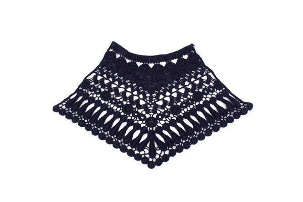 Navy Blue Cotton High Neck Lace Applique APP00193