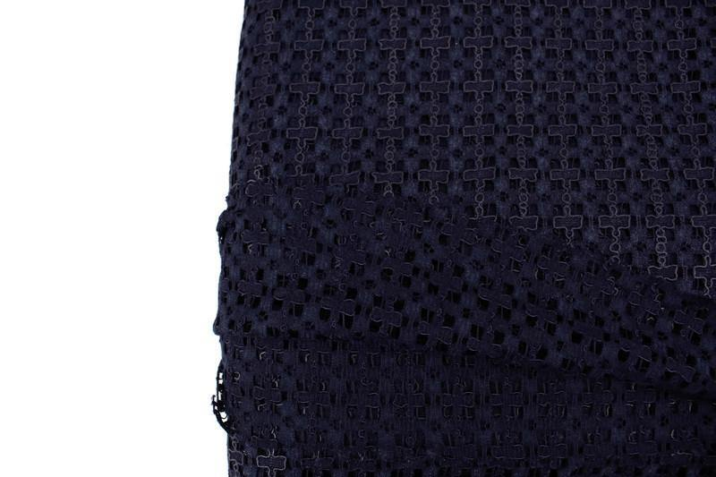 Navy Criss Cross Modern Lace Like Fabric by the yard LAC00001R