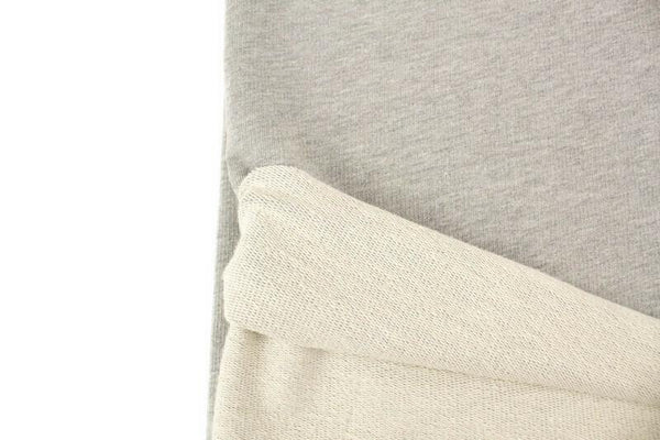Heather Light Gray and Cream Medium Weight Baby French Terry Knit Fabric by the yard FTK00801R