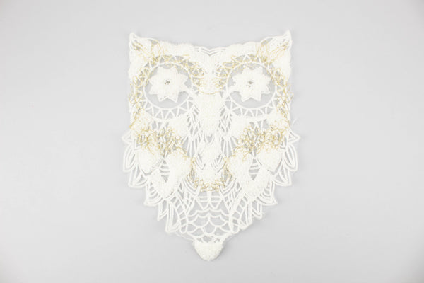 Cream and Gold Embroidered Owl Applique APP00191