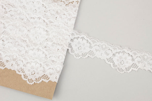 Off White Floral Stretch Lace Trim 1-5/8 inches width x 3.25 yards SLT00235
