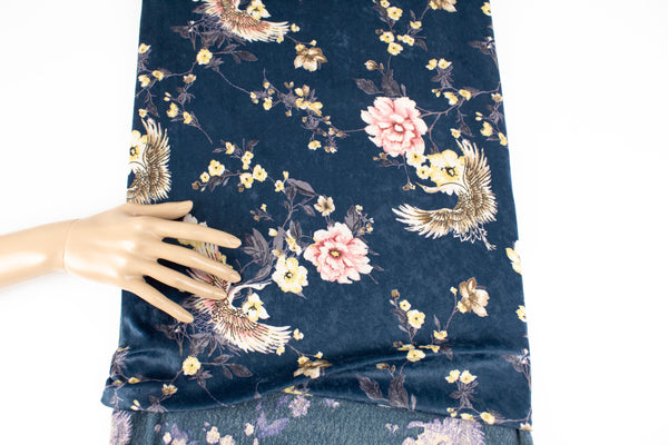 Dark Teal Floral Bird Stretch Velvet Knit Fabric 2.5 yards PDK00697