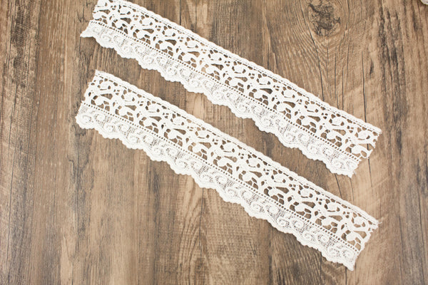 Off White Rectangular Cotton Lace Trim Bundle Pack 20 Pieces SPK00130
