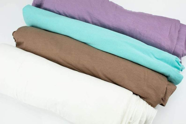 Purple Brown Mint and Cream Color Knit Fabric Variety Remnant Pack 4 Pieces x 8 yards total SPK00126