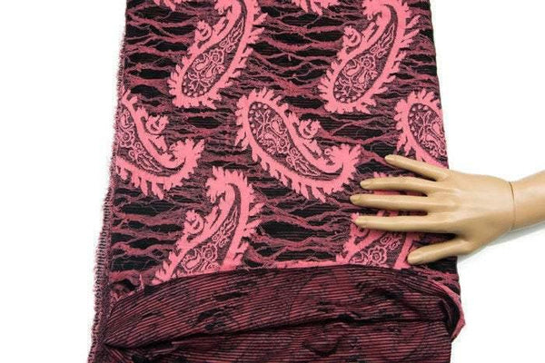 Pink and Black Paisley Jacquard Knit Fabric by the Yard PDK00138