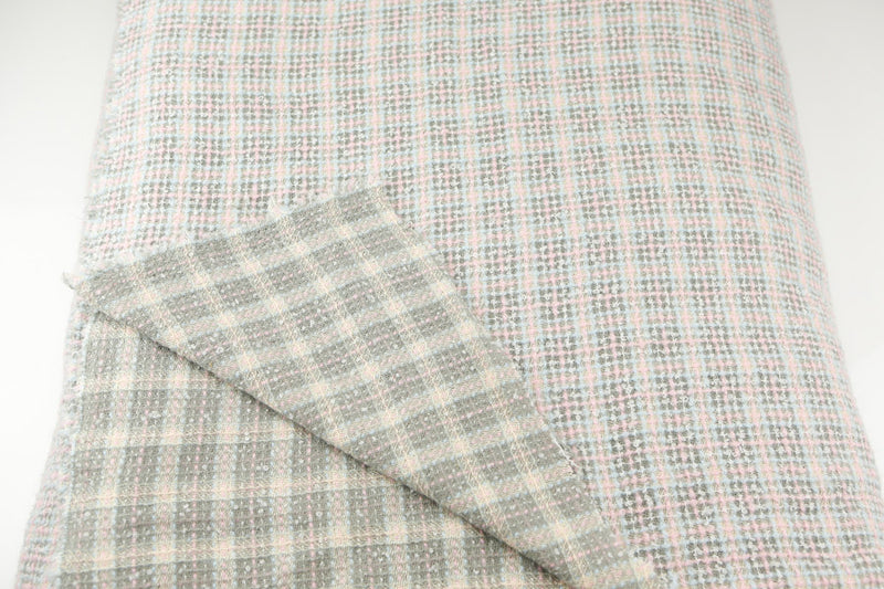 Pink Gray Wool Blend Plaid Tweed Fabric Italian Woven by the Yard  ATW00017R