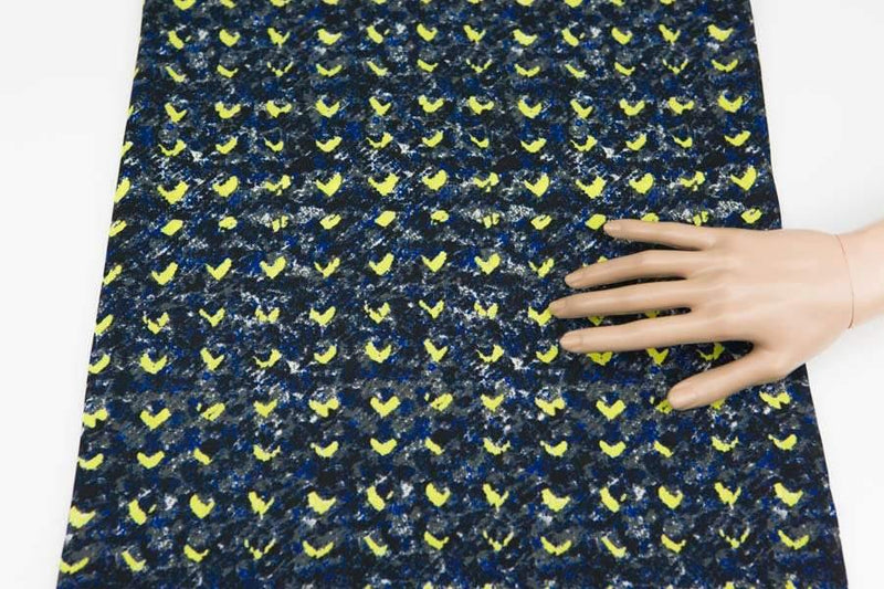 Dark Blue and Yellow Abstract Heart Light Weight Crepe Woven Fabric 3/4 Yard  LWW00005
