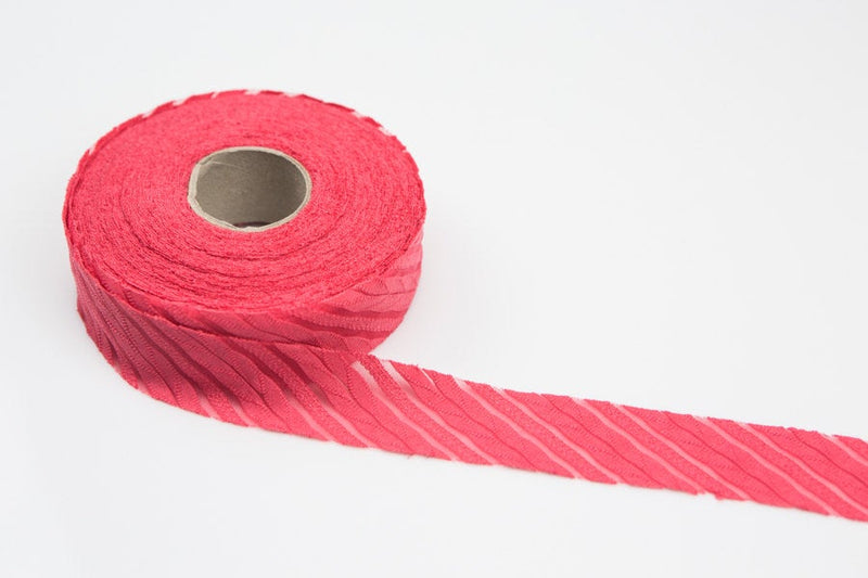 Red Pink Stripe Bias Tape Knit Fabric 1.25 inches wide x 9 yards BST00029