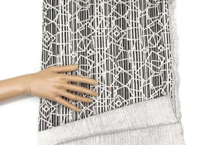 Black and Off White Graphic Stripe Rectangle Shape Jacquard Knit Fabric by the Yard  PDK00183
