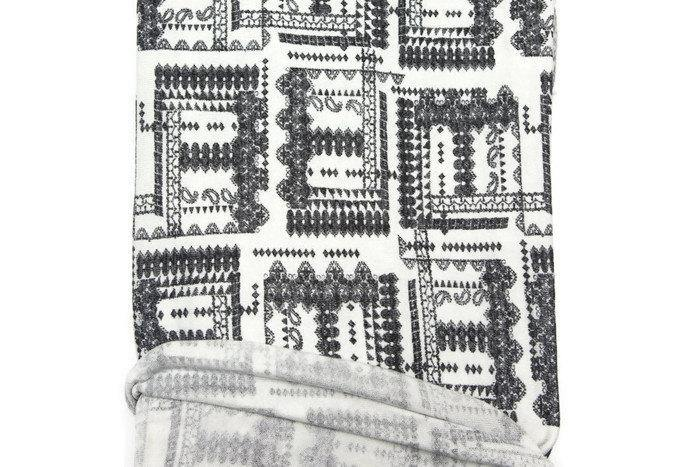 Boho Black and Off White Knit Fabric by the Yard OSK00317