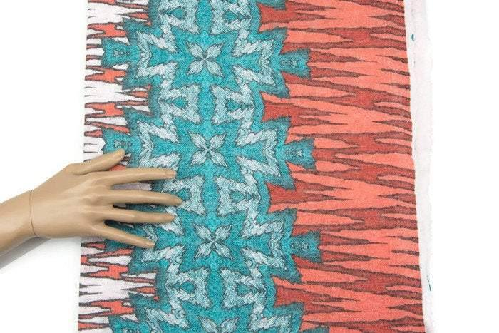 Orange Aqua Graphic Print Sweater Knit Fabric 40 inches length OSK00467