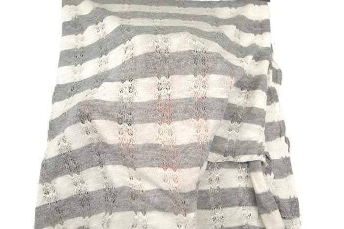 Gray and Off White Stripe Pointelle Open Weave Sweater Knit Fabric Extra Wide by the yard OSK00360R