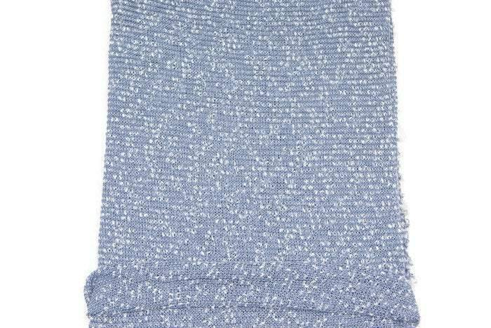 Blue and White Boucle Fancy Open Weave Sweater Knit Fabric by the yard - Felinus Fabrics