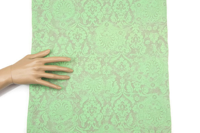 Light Green Damask Burnout Out Knit Jersey Fabric 41 Inches Length PDK00205