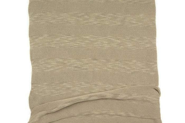 Dark Sand Beige Stripe Open Weave Sweater Knit Fabric 32 inches length OSK00409