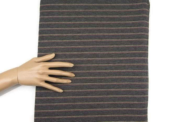 Gray Pink Yellow Stripe Rib Knit Jersey Fabric by the yard STK00145