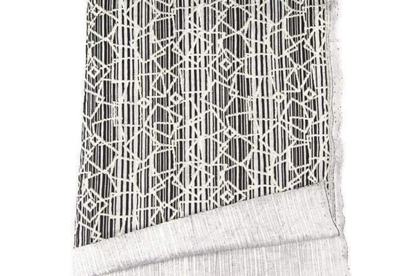 Black and Off White Graphic Stripe Rectangle Shape Jacquard Knit Fabric by the Yard - Felinus Fabrics