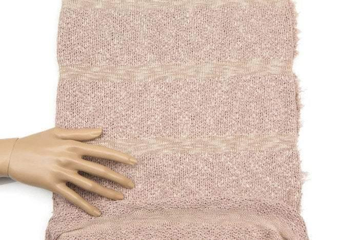 Heather Blush Pink and Nude Stripe Open Weave Sweater Knit Fabric 25 Inches Length OSK00572