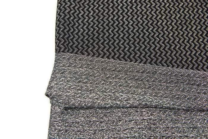 Black and Metallic Silver Chevron Zig Zag Stripe Jacquard Sweater Knit Fabric 1 yard and 14 inches Extra Wide OSK00634
