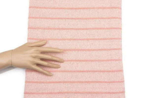 Peach Pink Stripe Open Weave Sweater Knit Fabric 1 Yard and 24 Inches OSK00528A