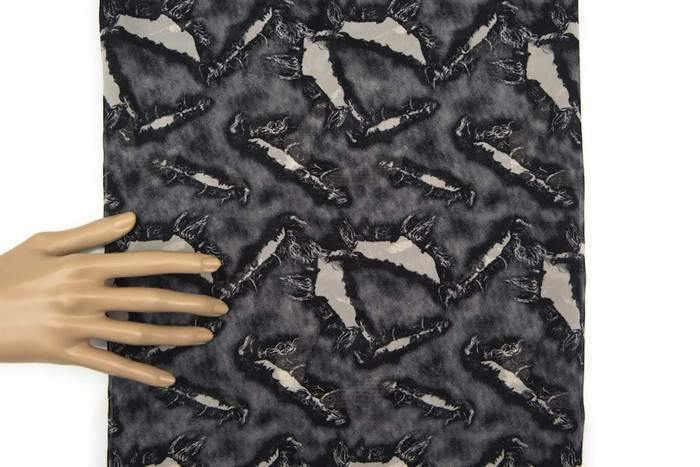 Black and Warm Stone Ripped Hole Print Chiffon Fabric Semi Sheer 1 yard and 13 inches LWW00165