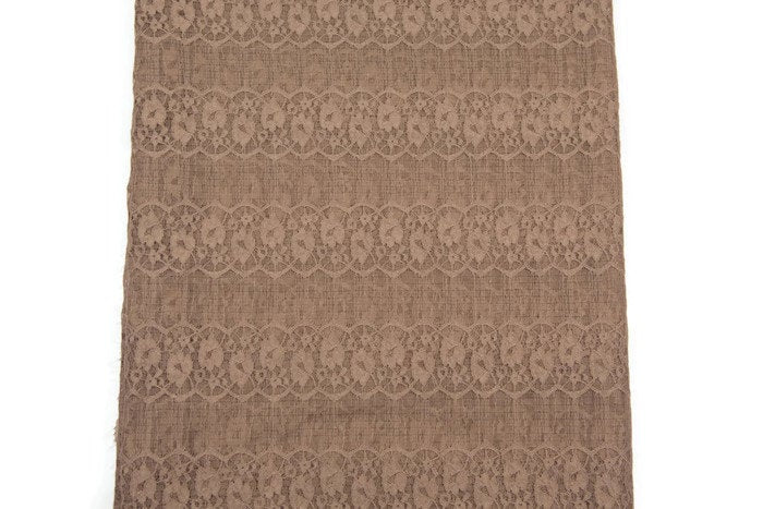 Milk Chocolate Brown Floral Stretch Lace Fabric 2 Pieces that Total 44 Inches Length LMS00077
