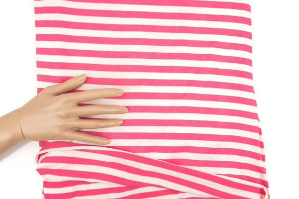 Pink and cream Stripe Knit Jersey Fabric 1 yard and 20 inches STK00184