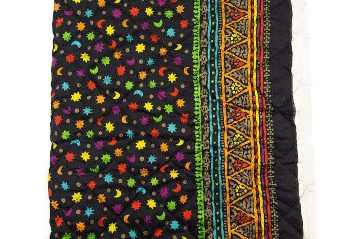 Black Multi Moon Stars Quilted Silk Fabric 1 yard and 12 inches - Felinus Fabrics