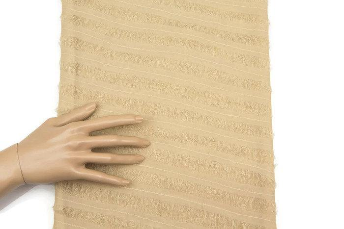 Light Caramel Silk Chiffon Diagonal Stripe on Mesh Fabric 1 Yard and 13 Inches LWW00152